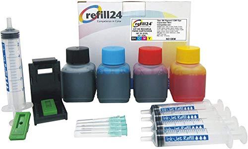 Kit de Recarga para Cartuchos de Tinta HP 21, 22, 21 XL, 22 XL Negro y Color, Incluye Clip y Accesorios + 200 ML Tinta