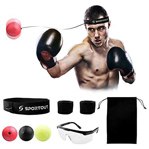 Boxen Reflex Fightball, Reaktionstrainingsball Die Boxgerät inklusiv Schutzbrille zur Verbesserung der Reaktionsfähigkeit, der Schlaggeschwindigkeit und Hand-Auge-Koordinationsfähigkeit