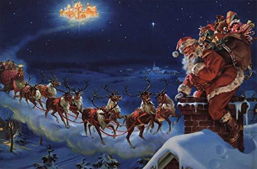 Puzzle 1000 piezas Cuadro de arte de la serie 191 de la pintura del cartel de la Navidad puzzle 1000 piezas clementoni Juegos familiares para adultos divertidos para niños Rom50x75cm(20x30inch)