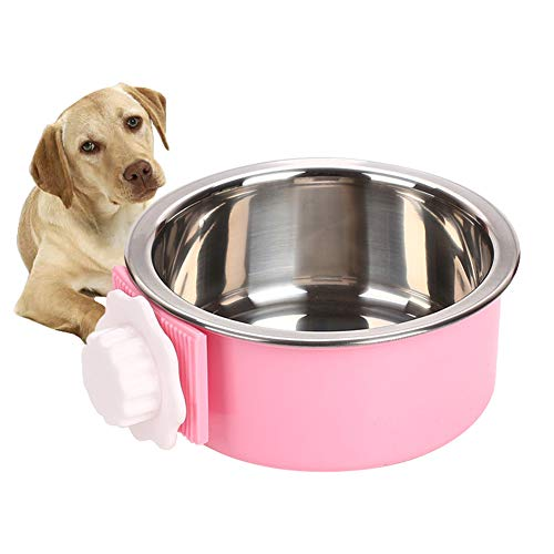 Crate Dog Bowl, Stainless Steel Removable Hanging Food Water Bowl Crate Coop Cup ,Pet Cage Bowls with Bolt Holder for Dog, Puppy, Cat, Rabbit, Bird ,Small Animals