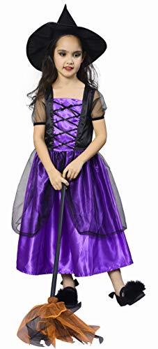 IKALI Disfraz Bruja Niña con Sombrero, Halloween Witch Vestido de Fiesta 4-6años