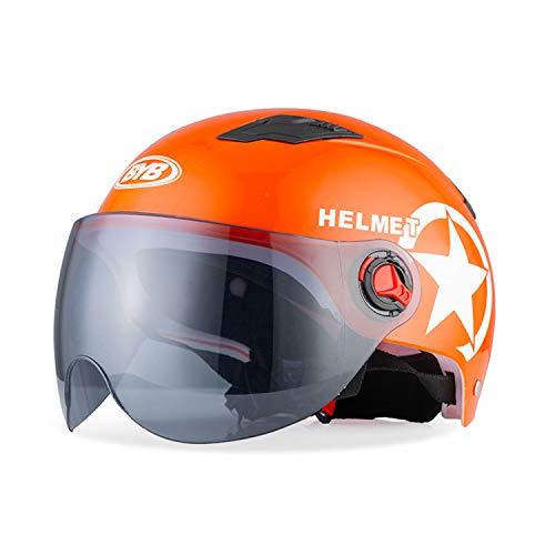 Galatée Metà Aperto Faccia Casco del Motociclo Con Occhialoni ,Casco Modulare Scooter,L'anti-collisione Protegge la Sicurezza Stradale Degli Utenti (Arancia, Lente marrone)