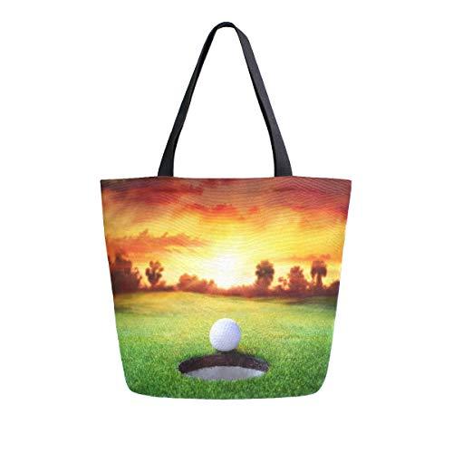 Hunihuni Canvas, Golftasche, mit Loch für Sonnenuntergang, groß, wiederverwendbar, Einkaufstasche, Schultertasche für Damen und Mädchen