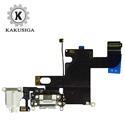 KAKUSIGA Compatible with iPhone 6 USB Charging Port Dock Connector Flex Cable + Microphone + Headphone Audio Jack Replacement for 6 4.7' (White)