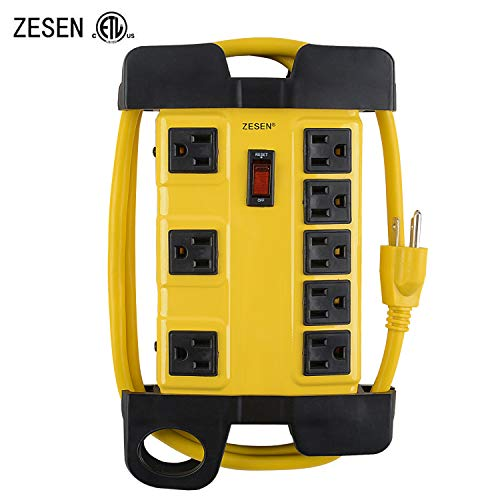 ZESEN 8 Outlet Heavy Duty Metal Workshop Surge Protector Power Strip with Cord Management, 4-Foot...