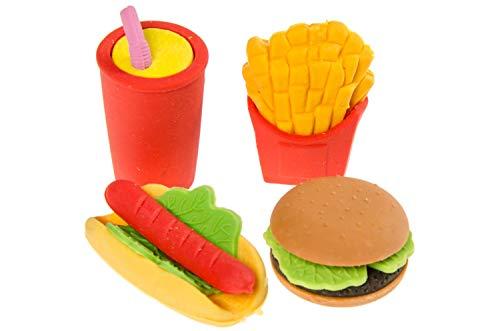 24 Stück Radiergummi Fast Food -Cola Pommes Hamburger Hot Dog -Radier Gummi Rubber 4-Fach Sortiert Radierer Tombola Schulbedarf Mitgebsel Kindergeburtstag