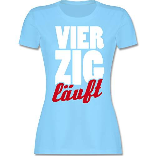 Geburtstag - 40. Geburtstag läuft - M - Hellblau - 40 Geburtstag Frauen - L191 - Tailliertes Tshirt für Damen und Frauen T-Shirt