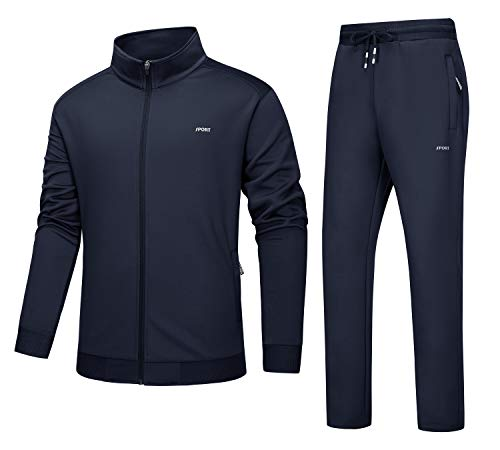 Tuta Pantaloni Uomo Palestra Allenamento Giacca Full Zip Running Top Leggero Sportwear Formazione Jogger Bottoms Tasca Zip Tuta Tuta Tuta Navy Blu