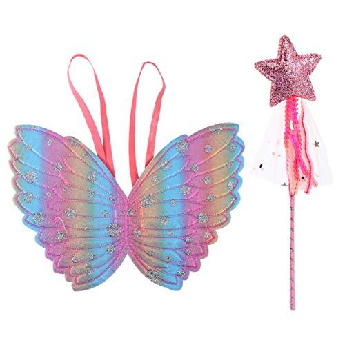 KESYOO 2Pcs Acessórios de Fantasia de Princesa de Fada Princesa Vestir Asas de Borboleta Varinha Joias Favor de Festa para Vestir-Se Fingir Brincar (Rosa)