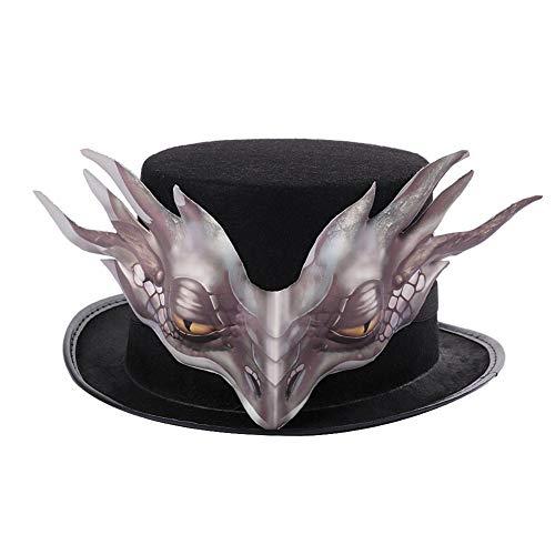 Yoouo Halloween Drachenhut mit abnehmbarem Ornament Vlies Karnevalskappe Gesichtsmaske