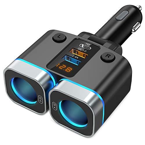 Nulaxy Caricabatteria da adattatore Auto 150W, Sdoppiatore Accendisigari 2 Prese Caricatore Rapido USB C/QC3.0/USB2.4A, Interruttori Separati, 15A Fusibile Sostituibileper, GPS/Dash cam/Telefono/iPad