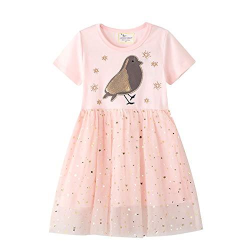 GJHT Abito in Cotone per Bambini for Bambini di Tulle Paillettes Partito del Vestito Casuale Il Tessuto è Morbido E Confortevole (Color : Pink, Size : 6 Years)