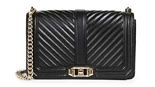 Rebecca Minkoff Women's Chevron Quilted Love Cross Body Bag, Black/Gold, One Size