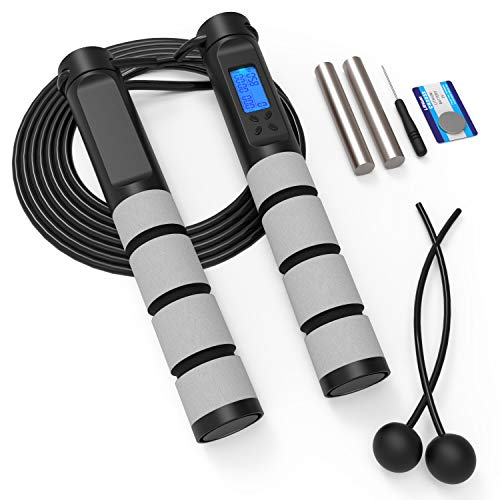 Labelife Jump Rope - Weighted Jump Rope with Counter for Fitness, Digital Speed Jump Rope for Adults Men Women Kids, Adjustable Length, Cordless Skipping Rope Suitable for Indoor Home Workout