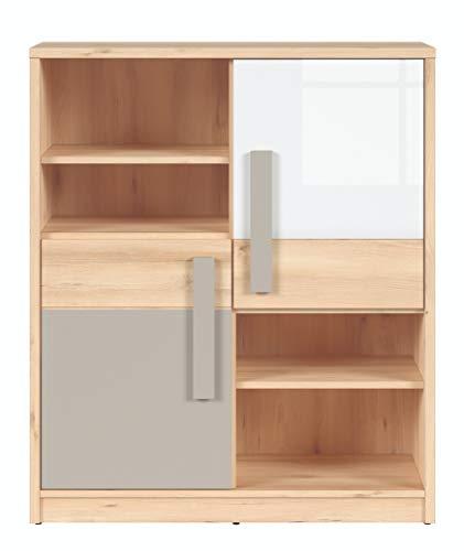 Boardd - Estantería de 4 niveles con diseño de Namek para sala de estar, dormitorio, oficina, habitación de los niños, decoración icónica de haya/blanco brillante/gris, 95 x 112 x 38,5 cm