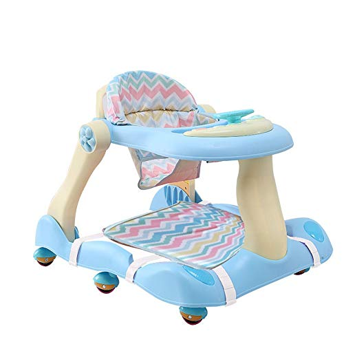 MICROSHE Gehfrei Walker Faltbare 2-in-1-Baby-Wanderer-Push-Sit Car Prolongation Prevention Einstellbare Höhe Schritt Helfer mit Footpad (Farbe : Blau, Größe : with Footpad)