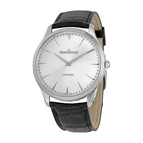 JAEGER LECOULTRE MEN'S MASTER 41MM BLACK LEATHER BAND AUTOMATIC WATCH...