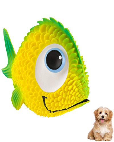 Lanco Sensory Dog Toys for Puppy - Blind - Small - Medium Dogs - Squeaky Fish Dog Toy - Natural Rubber - Soft - Handpainted - Handcrafted by Family Business Founded in 1952