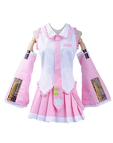 Cosplayfly Damen Vocaloid Sakura Hatsune Miku Cosplay Kostüm Halloween Cosplay Costume Kleid + Krawatte XS