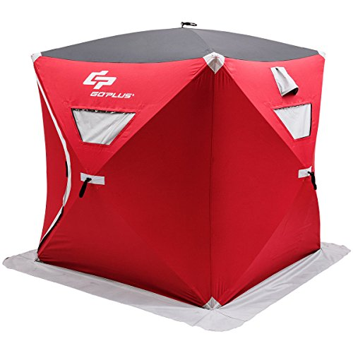 Goplus 3 Person Portable Ice Shelter Pop-up Ice Fishing Tent Shanty w/ Bag and Ice Anchors Red (3 Person)