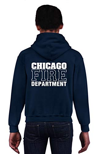 feuer1 Kinder Kapuzensweat Navy, Chicago FIRE DEPTARTMENT, in Weiss
