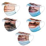 Donasty 50 Stück Neu Mundschutz Erwachsene Einweg 3-lagig 3D Druck Lustig Mund Nasenschutz Atmungsaktiv Mund und Nasenschutz Bedeckung Mund-Tuch Bandana Halstuch Schals für Herren Damen