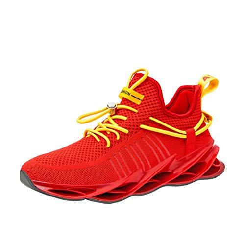 Sneakers Hombre Malla Tejida con Mosca Zapatos De Running Transpirables Casual Zapatos Gimnasio Zapatillas De Deporte Rojo 45