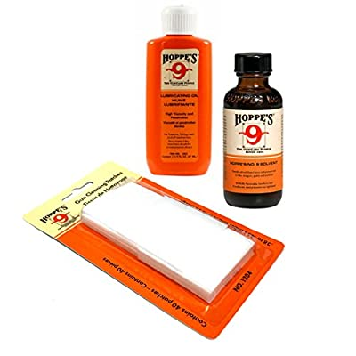 Hoppes Cleaning Kit - Compact Size for Range Bags - Includes Gun Bore Cleaner and Hoppes Gun Oil Bundled with 40 Hoppes Gun Cleaning Patches for 9mm .38 to .45cal and .410 to 20ga