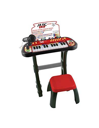Music Star - Smart Keyboard - Tastiera per Bambini con Sgabello e Microfono - Tastiera 24 Tasti con 24 Canzoni Pre-Registrate, Suoni di Batteria e 4 Ritmi - Giochi per Bambini e Giocattoli