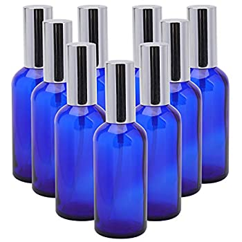 Foraineam 9 Pack 100ml / 3.4 oz Blue Glass Spray Bottles with Atomizer Refillable Fine Mist Spray Bottle Containers for Perfume Essential Oils Cleaning Products