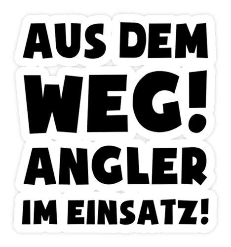 shirt-o-magic Aufkleber Angeln: Angler im Einsatz! - Sticker - 10x10cm - Weiß