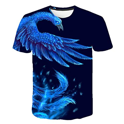 Mens T Shirt Summer Fantasy 3D Short Sleeves Fashion Phoenix Printed T-Shirt Newest Short Sleeve Casual T-Shirts for Men