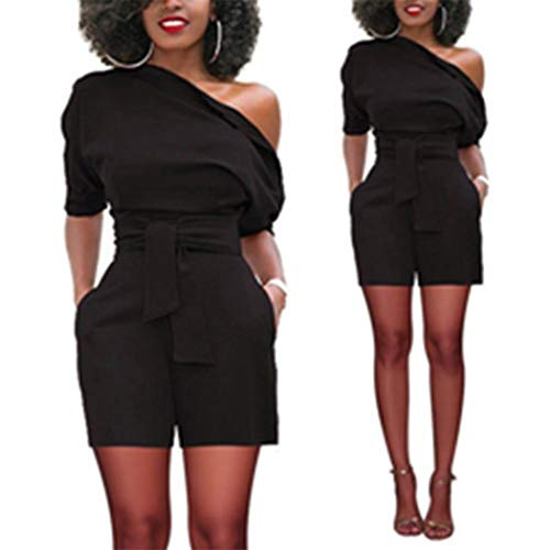 Sale!! Trendy Womens Bodycon Clubwear Playsuit Party(Black,XXL)