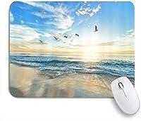 NIESIKKLAマウスパッド 熱帯の海の日の出カモメ太陽光線曇り空 ゲーミング オフィス最適 高級感 おしゃれ 防水 耐久性が良い 滑り止めゴム底 ゲーミングなど適用 用ノートブックコンピュータマウスマット