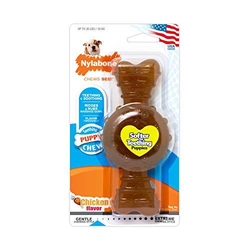 Nylabone Juguete masticable para la higiene Dental de Cachorros en Etapa de dentición, Juguete calmante masticable de Goma, Sabor a Pollo, para Cachorros de hasta 16 Kilos 168.3 g