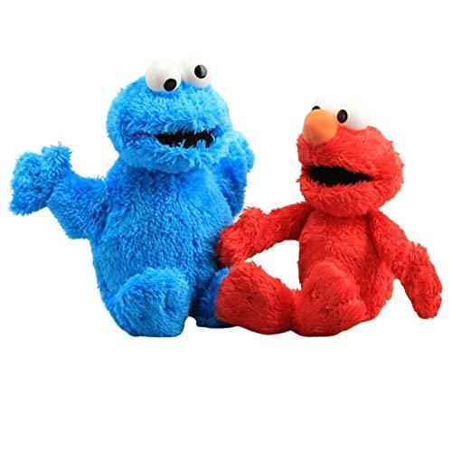 Intervic Pack 2 Peluches muñeco de Felpa Elmo y Cookie Galleta 23cm Los Teleñecos Comegalletas Kermit Peluche de Animal Suave Adorable Regalo Juguetes para niños y niñas