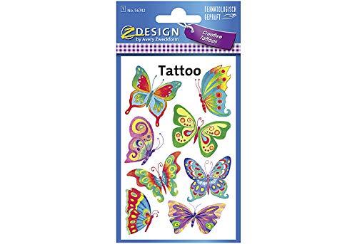 AVERY Zweckform 56742 Tattoo Kinder 8 Stück (Temporäre Tattoos Schmetterling, Kinder Tattoo wasserfest, Klebetattoos, Kindergeburtstag, Mitgebsel, Partyspiele, Kinder zum Spielen, Tattoo Mädchen)