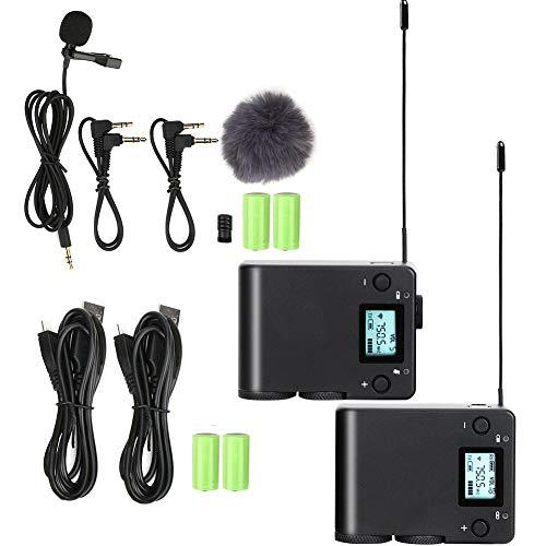 M ugast Drahtloses Lavalier-Mikrofonsystem, tragbares 57-Kanal-UHF-Akku-Mikrofon-Kit mit 1 Sender und 1 Empfänger sowie 1 Lavalier-Mikrofon für spiegellose Spiegelreflexkamera/Telefon, Interview/Vlog