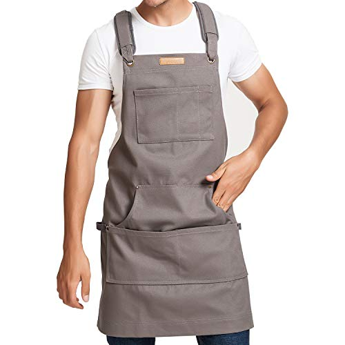 Yotache Work and Workshop Tool Apron Men & Women, Heavy Duty Thick Water Resistant Canvas with Pockets & Cross-Back Straps & Hammer Loops Adjustable Up to XXL Long