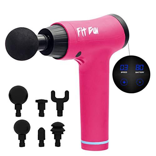 Woxter Fit Gun Pink Pistola de Masaje Muscular Massage Gun con Batería de Litio y 6 Cabezales Intercambiables, Masajeador de Mano para deportistas, Estimulación Muscular, Alivio del Dolor Muscular