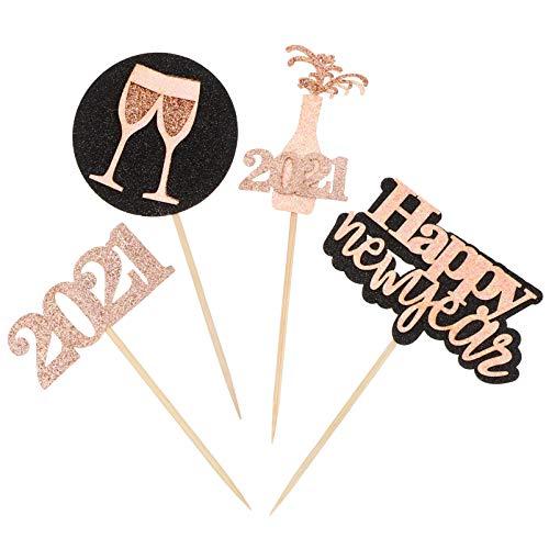 ABOOFAN Rosa Glitter 2021 Torta di Felice Anno Nuovo Cupcake Toppers da Dessert Fuochi Dartificio Cupcake Picks Bomboniere per Feste Decorazioni per Feste di Capodanno Forniture per