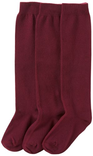 Jefferies Socks Mädchen Girls'School Uniform Knee High Socks, Schuluniform, Kniestrümpfe, burg&erfarben, Medium (3er Pack)