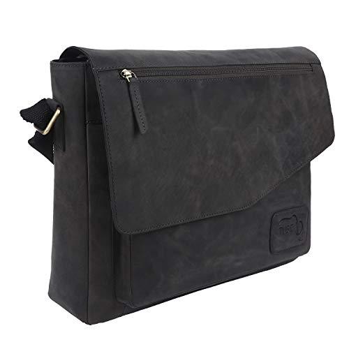 TUSC Triton Grau Leder Tasche Laptoptasche 14 Zoll 15,6 Zoll Herren Umhängetasche Aktentasche Schultertasche für Büro Notebook Messenger Bag Laptop iPad, Größe- 39x30x9 cm