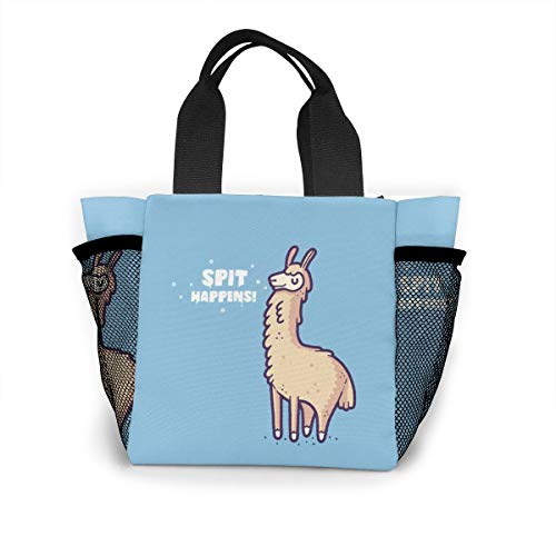 Spit Happens Llama Handbag Women Fashion Bag Reusable Shopping Bags Light Handbags High Capacity Gift Bags Food Storage Bags