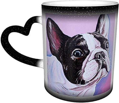 Bulldog Frances Art Magic Taza que cambia de color sensible al calor en el cielo Tazas de café artísticas divertidas Regalos personalizados para amantes de la familia Amigos-Negro