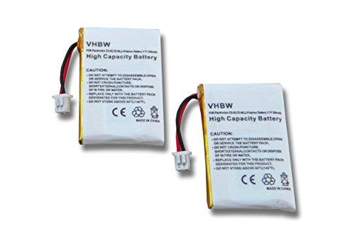 vhbw 2X Li-Polymer Akku 300mAh (3.7V) für Kopfhörer Headset Plantronics Wireless Headset CS50, CS50USB, CS510, CS510A wie 64327-01, 653580 u.a.