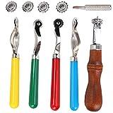 Rueda de rastreo dentada de cuero de 5 piezas, herramienta de rueda de costura para coser, rueda de marcado de puntadas de cuero, espaciador de cuero, sistema de grabación en relieve para artes