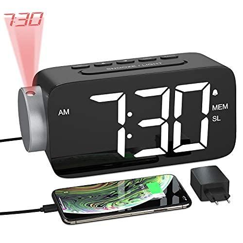 YISSVIC Projektionswecker FM Radiowecker 6.5'' LED-Anzeige Projektionsuhr Easy Snooze 3 Einstellbare Helligkeit 180° Dreh-Projektor mit Adapter