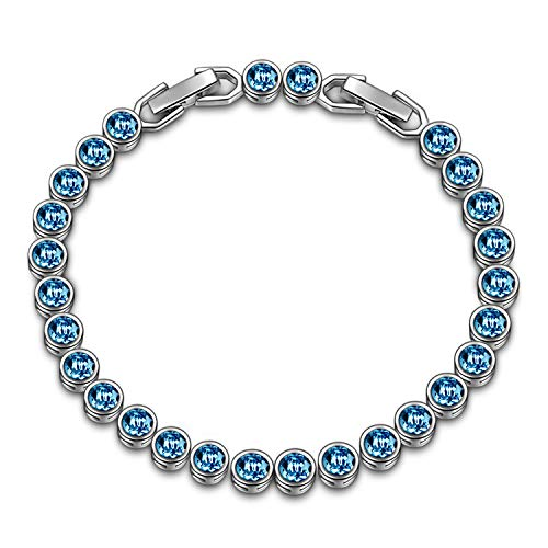LadyColour Blue Aquamarine Tennis Bracelet Swarovski Crystals Bracelet Jewelry for Women Christmas Gifts Birthday Gifts for Women Teens Girls Girlfriend Wife Sister Friend Anniversary Gifts for Her