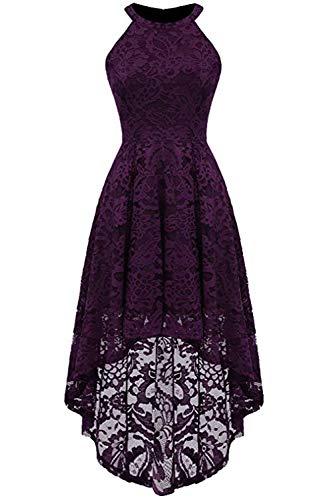 MisShow Kleid vorne kurz hinten lang Damen Abschlussball Kleider Damen Spitzen Cocktailkleider Schulterfrei Abikleider Violett S